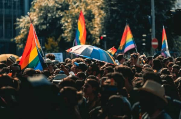 Pride march before lockdown and social distancing