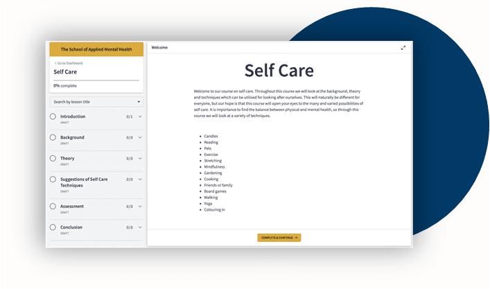 Screenshot of upcoming self care training (free CPD)