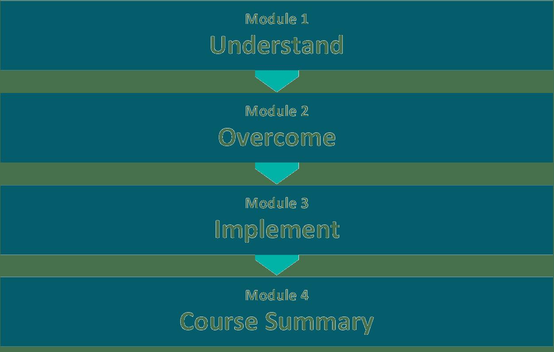 Course module list: Module 1 - Understand, Module 2 - Overcome, Module 3 - Implement, Module 4 - Course Summary