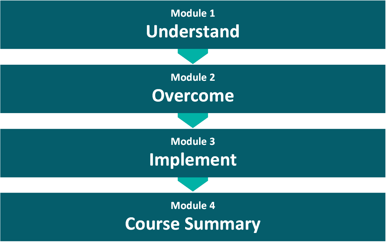 Course Structure list for Self Care Mental Health CPD - Module 1 Understand, Module 2, Overcome, Module 3, Implement, Module 4, Course Summary